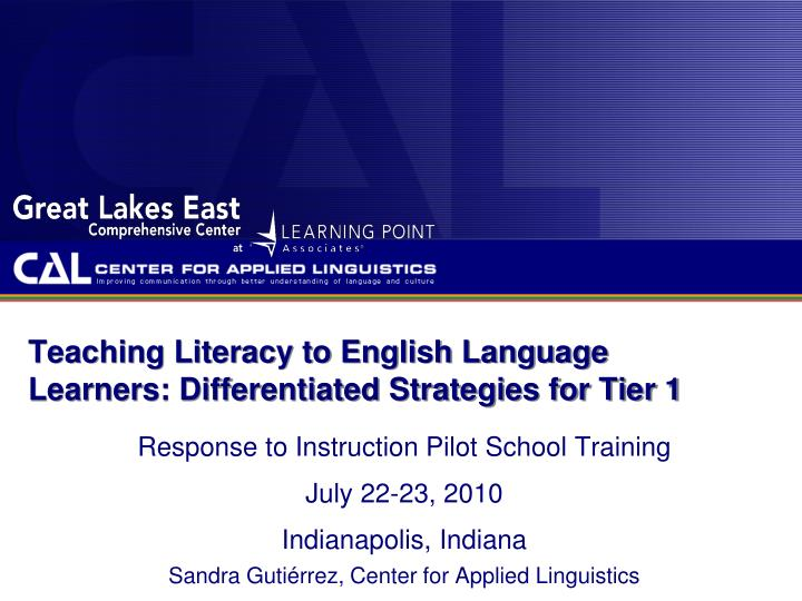 teaching literacy to english language learners differentiated strategies for tier 1 n.