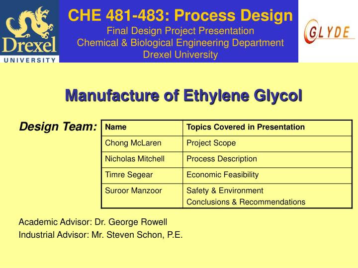 PPT - CHE 481-483: Process Design Final Design Project Presentation