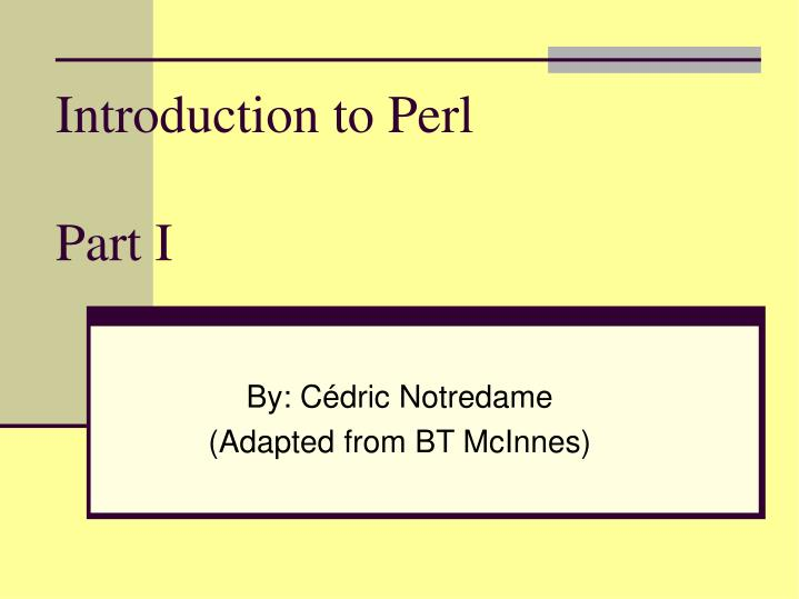 introduction to perl part i n.
