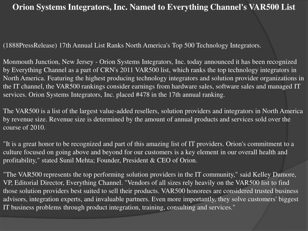 Orion Systems Integrators, Inc. Named to Everything Channel's VAR500 List