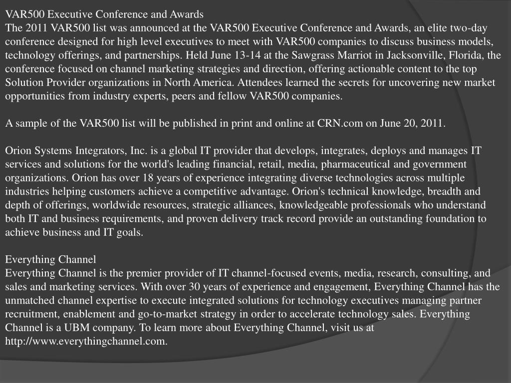 VAR500 Executive Conference and Awards