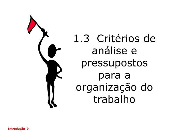 1.3  Critérios de análise e pressupostos para a organização do trabalho