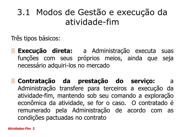 3.1  Modos de Gestão e execução da atividade-fim