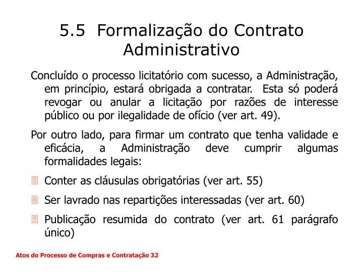 5.5  Formalização do Contrato Administrativo
