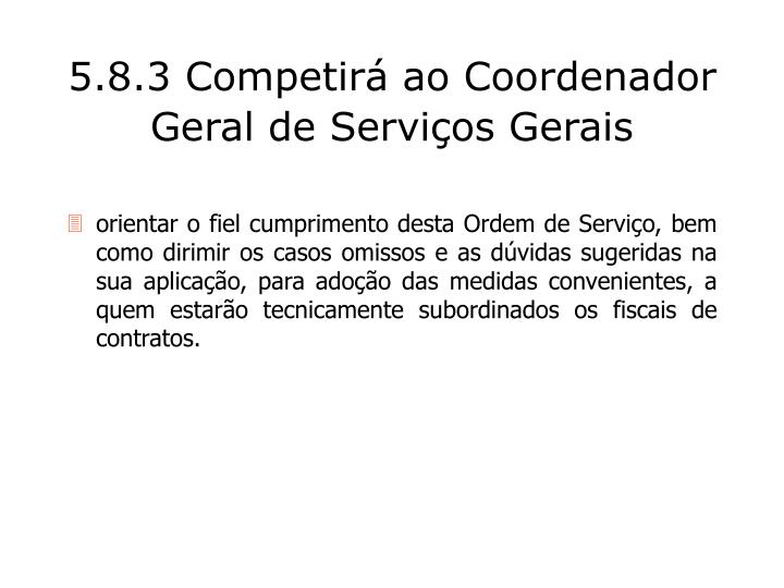 5.8.3 Competirá ao Coordenador Geral de Serviços Gerais