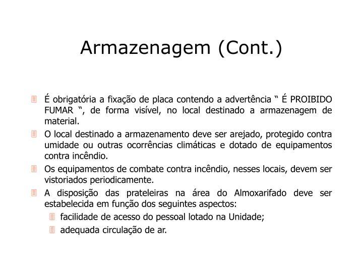 Armazenagem (Cont.)