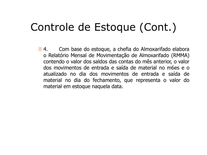 Controle de Estoque (Cont.)