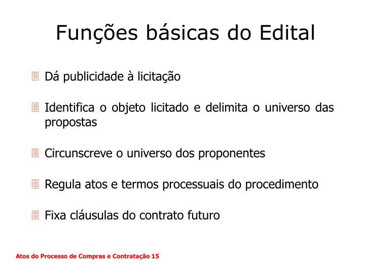 Funções básicas do Edital