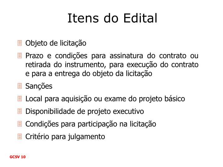 Itens do Edital