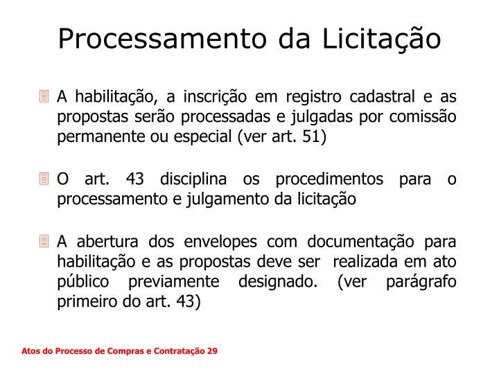 Processamento da Licitação