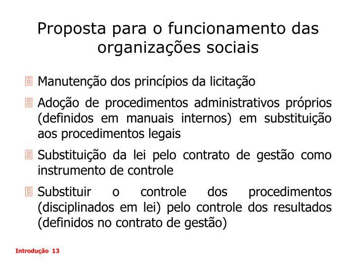 Proposta para o funcionamento das organizações sociais