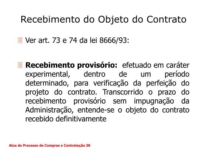 Recebimento do Objeto do Contrato