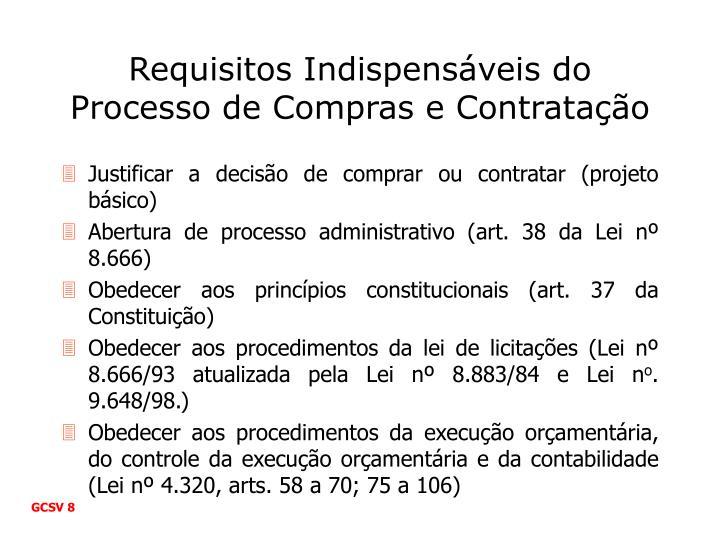 Requisitos Indispensáveis do Processo de Compras e Contratação