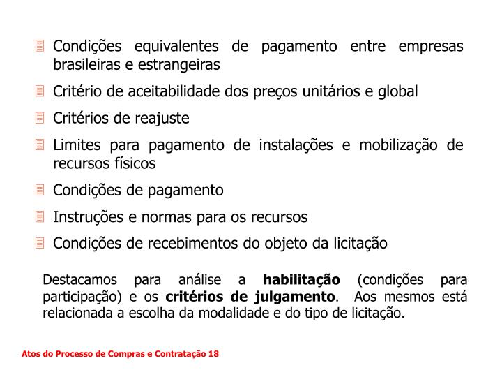Condições equivalentes de pagamento entre empresas brasileiras e estrangeiras