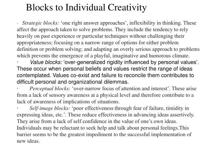 Blocks to Individual Creativity