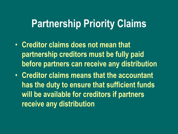 Partnership Priority Claims
