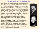 michelson morely experiment cont