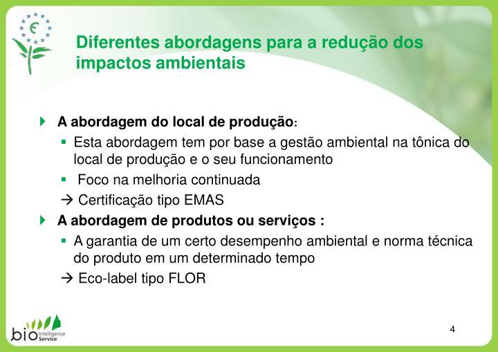Diferentes abordagens para a redução dos impactos ambientais