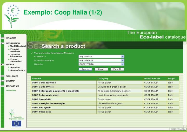 Exemplo: Coop Italia (1/2)