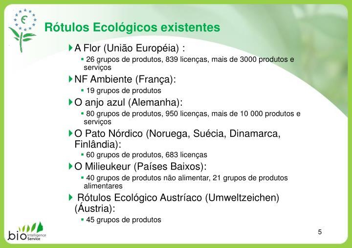 Rótulos Ecológicos existentes