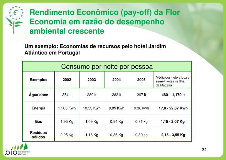 Rendimento Econômico (pay-off) da Flor Economia em razão do desempenho ambiental crescente