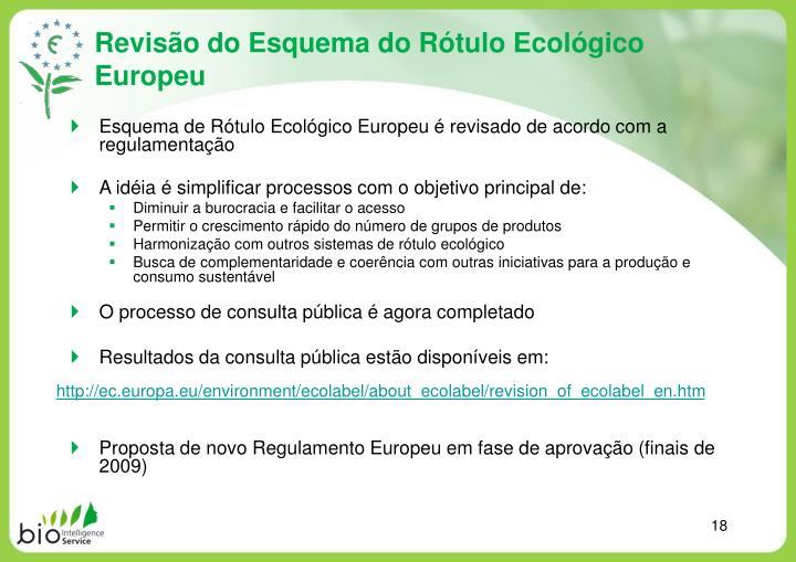 Revisão do Esquema do Rótulo Ecológico Europeu