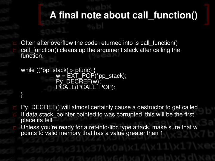 A final note about call_function()