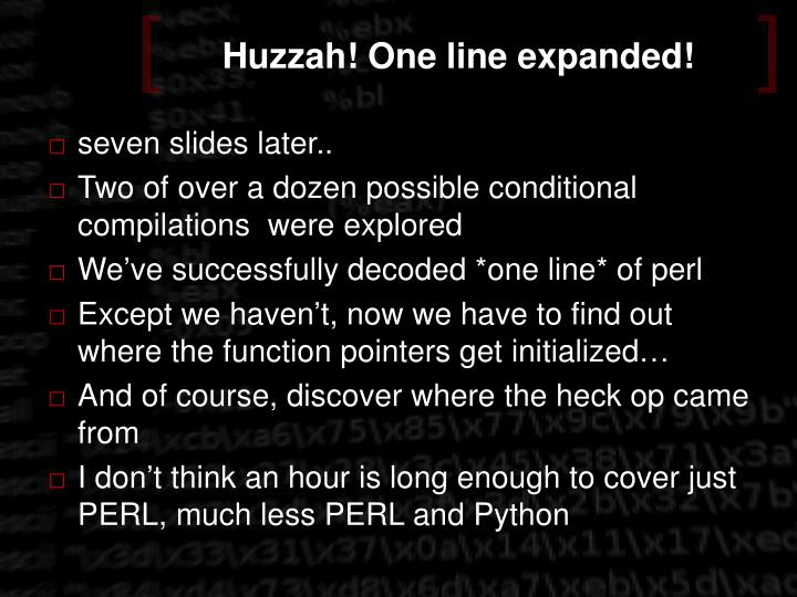 Huzzah! One line expanded!