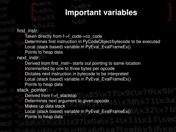 Important variables