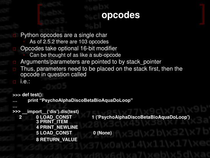 opcodes