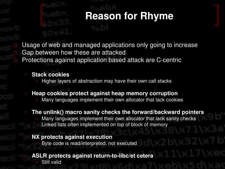 Reason for Rhyme