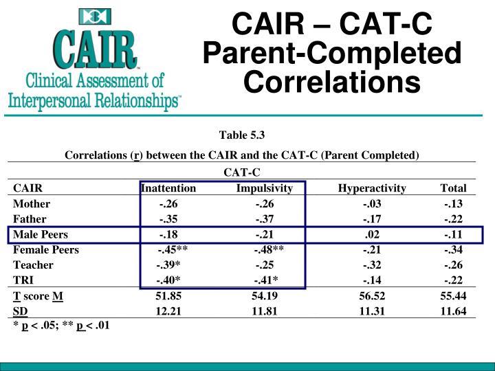 CAIR – CAT-C Parent-Completed Correlations