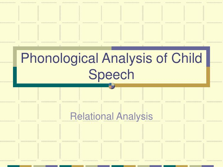 phonological analysis of child speech n.