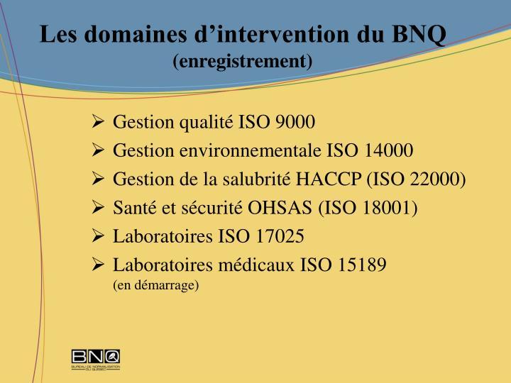 Les domaines d'intervention du BNQ