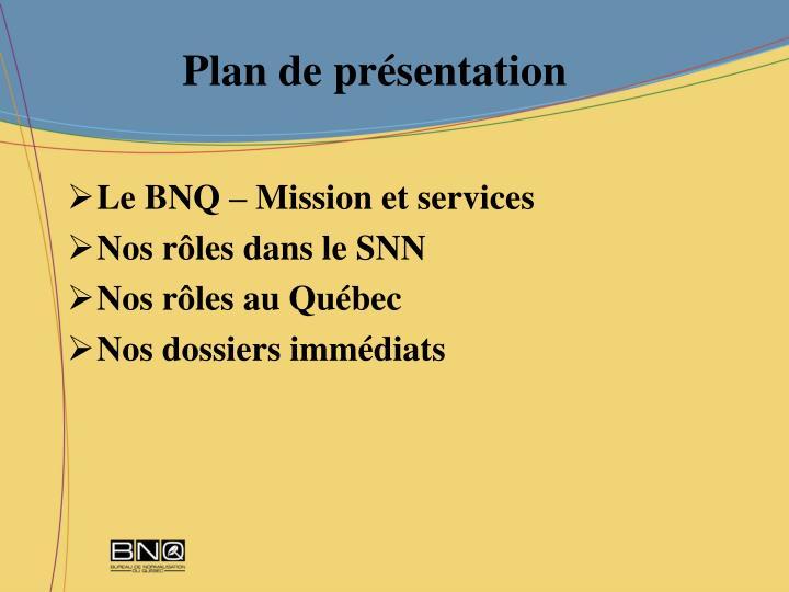 Plan de pr sentation