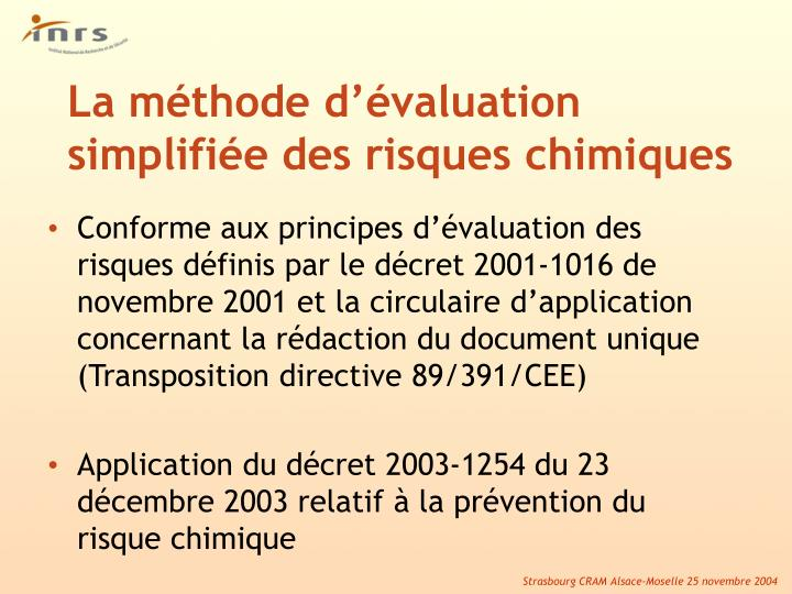 La m thode d valuation simplifi e des risques chimiques