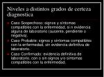 niveles a distintos grados de certeza diagnostica