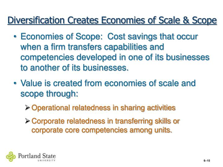 Diversification Creates Economies of Scale & Scope