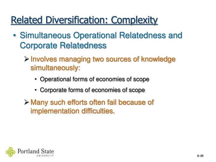 Related Diversification: Complexity