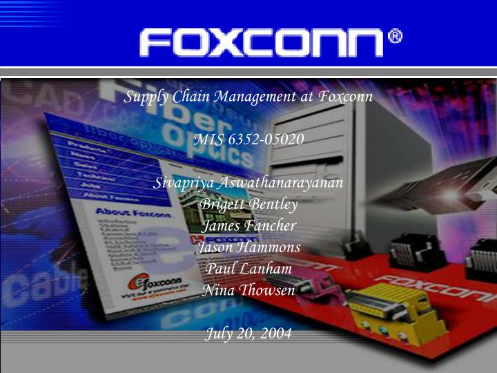Supply Chain Management at Foxconn