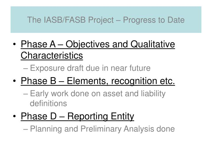 The IASB/FASB Project – Progress to Date