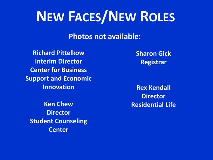 New Faces/New Roles