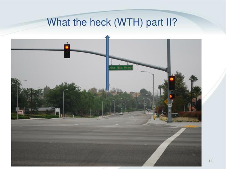 What the heck (WTH) part II?