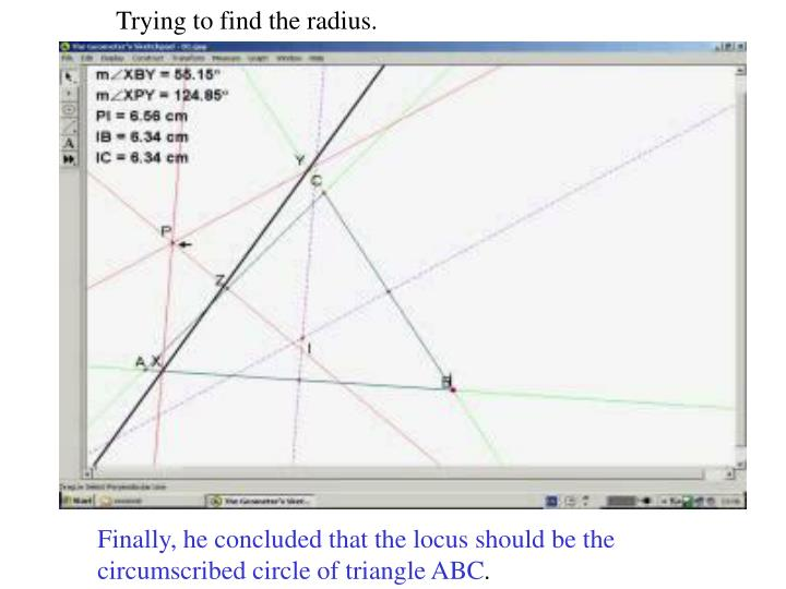 Trying to find the radius.