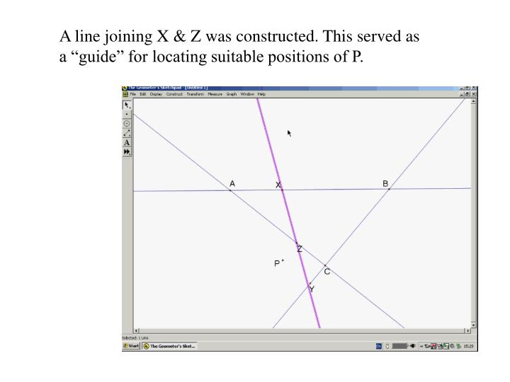 """A line joining X & Z was constructed. This served as a """"guide"""" for locating suitable positions of P."""