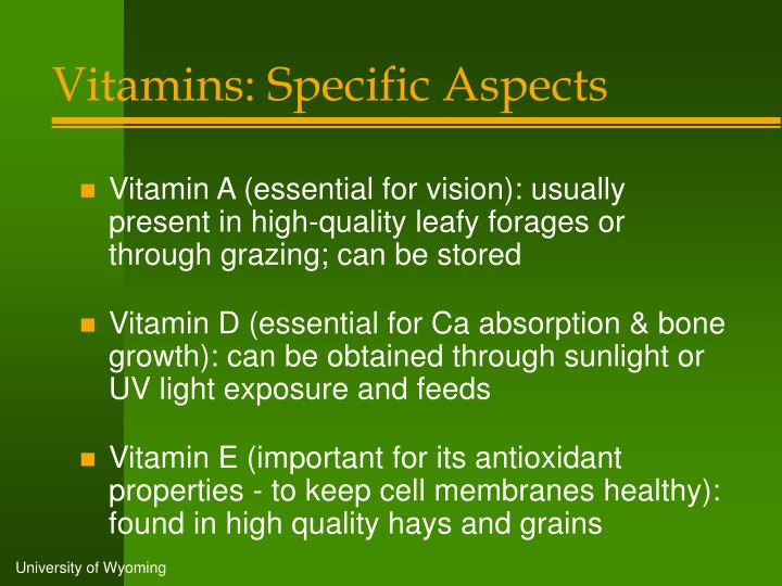 Vitamins: Specific Aspects