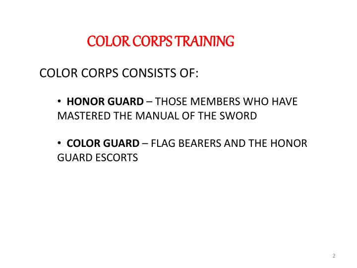 COLOR CORPS TRAINING