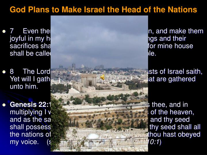 God Plans to Make Israel the Head of the Nations