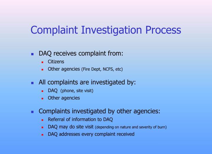 Complaint Investigation Process