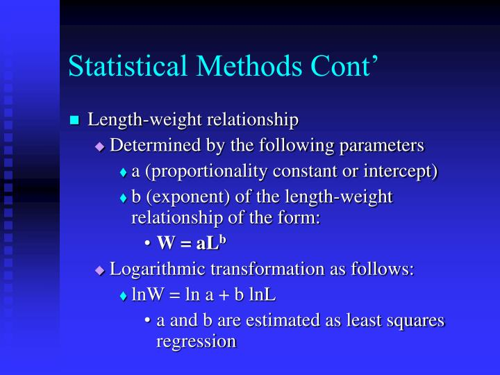 Statistical Methods Cont'